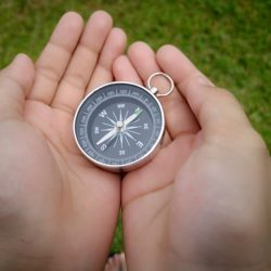 A compass is an instrument used for navigation and orientation that shows direction relative to the geographic cardinal directions or points. Usually, a diagram called a compass rose shows the directions north, south, east, and west on the compass face as abbreviated initials.